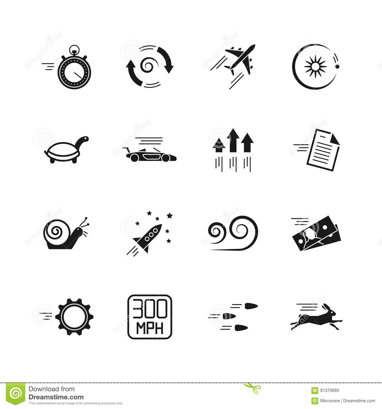 Velocity Speed And Performance Vector Icons Isolated On