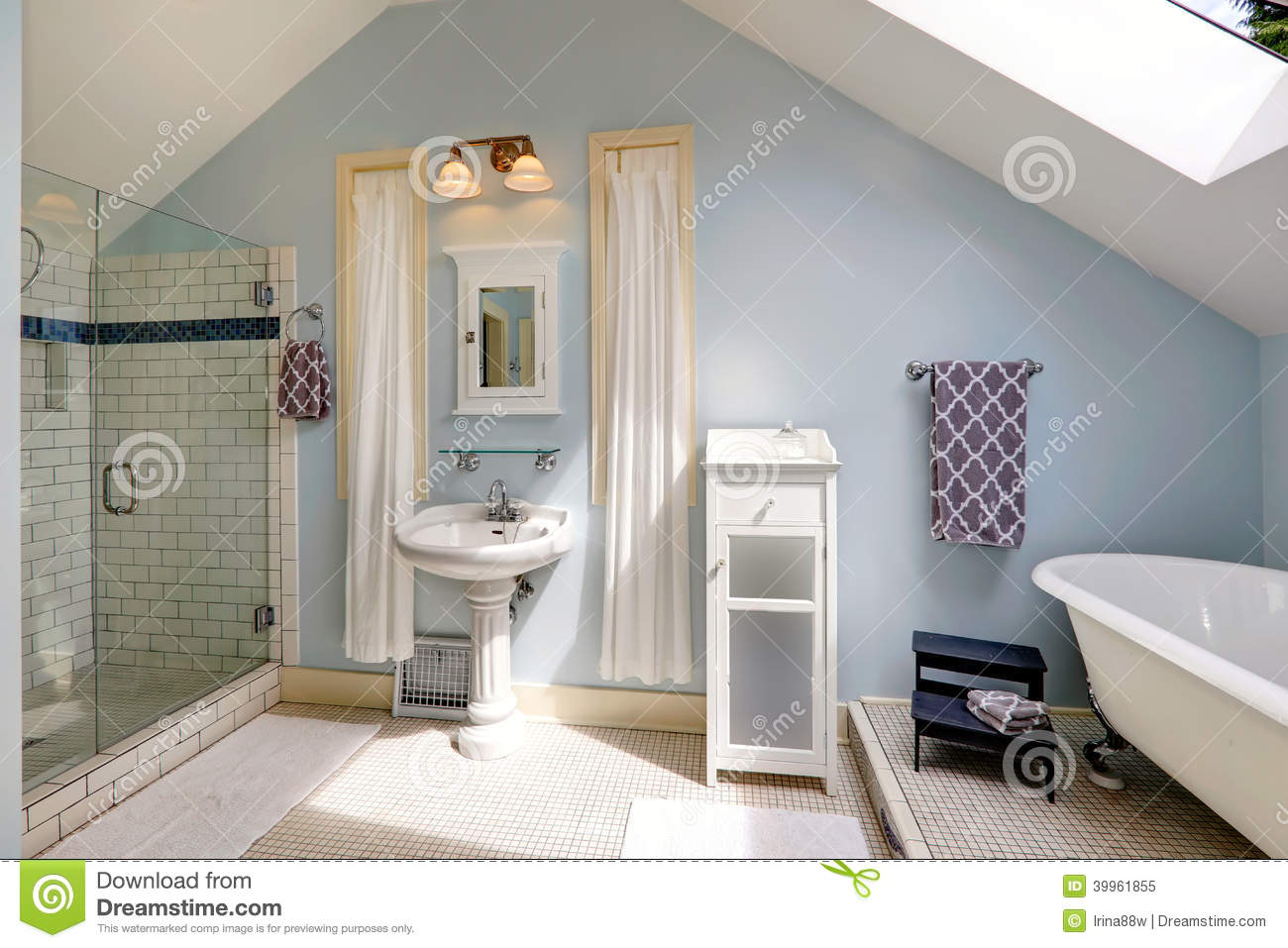 Velux Bathroom With Antique Bath Tub Stock Image Image Of Cabinet Space 39961855