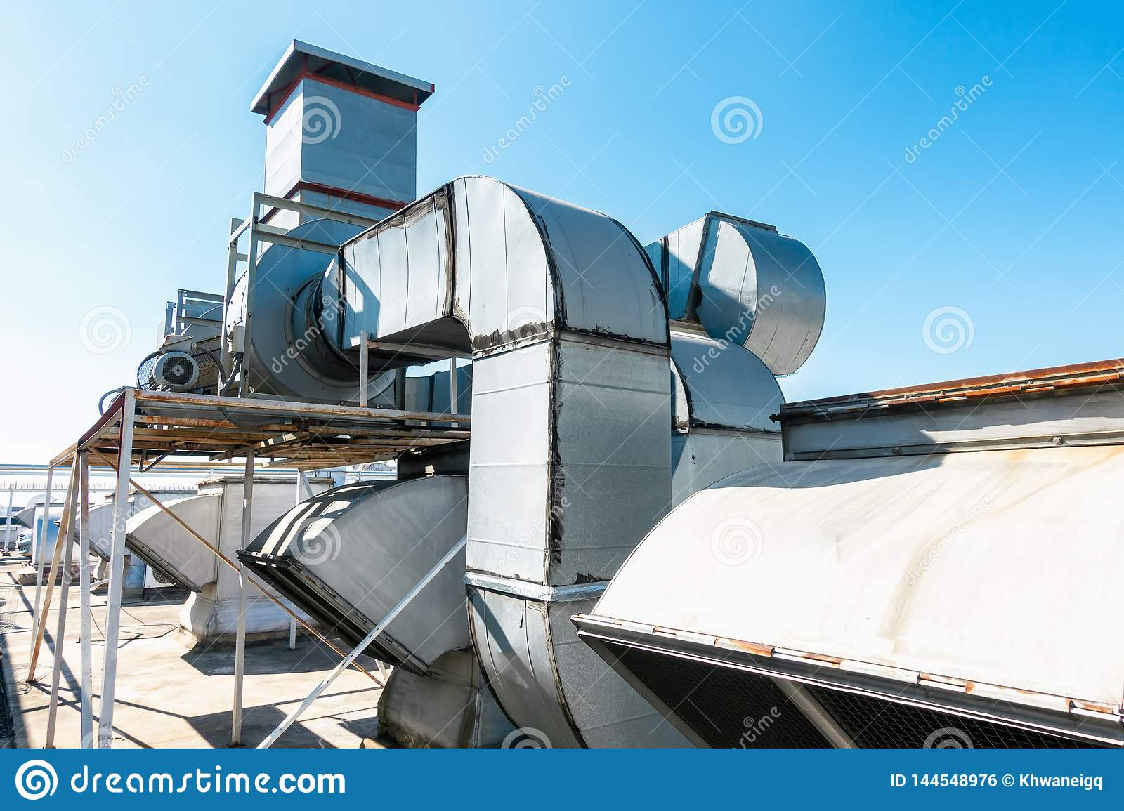 https www dreamstime com ventilation air duct hvac cleaning system exhaust hood air blower manufacturing food industrial equipment ventilation image144548976