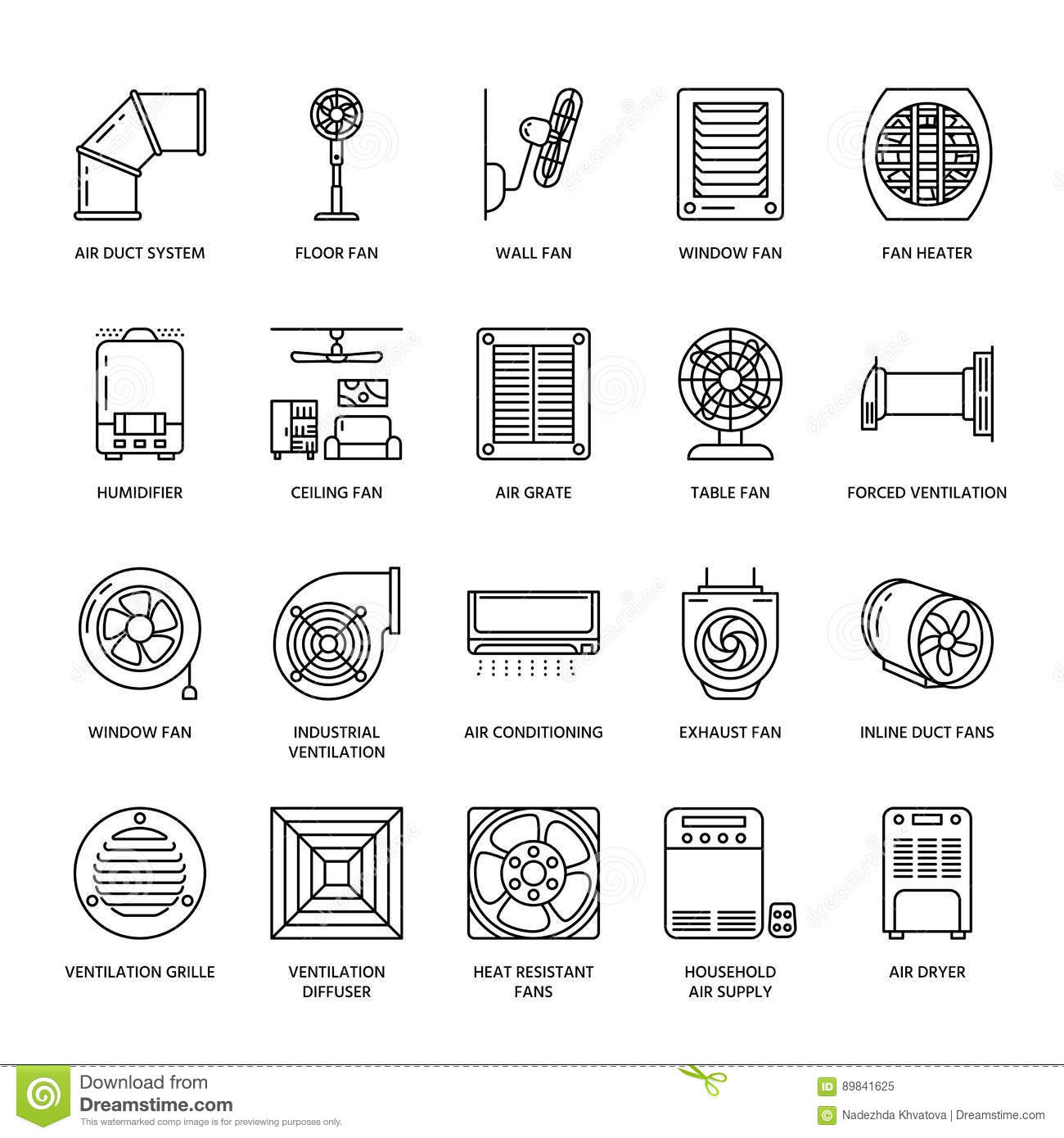 Ventilation Equipment Line Icons Air Conditioning