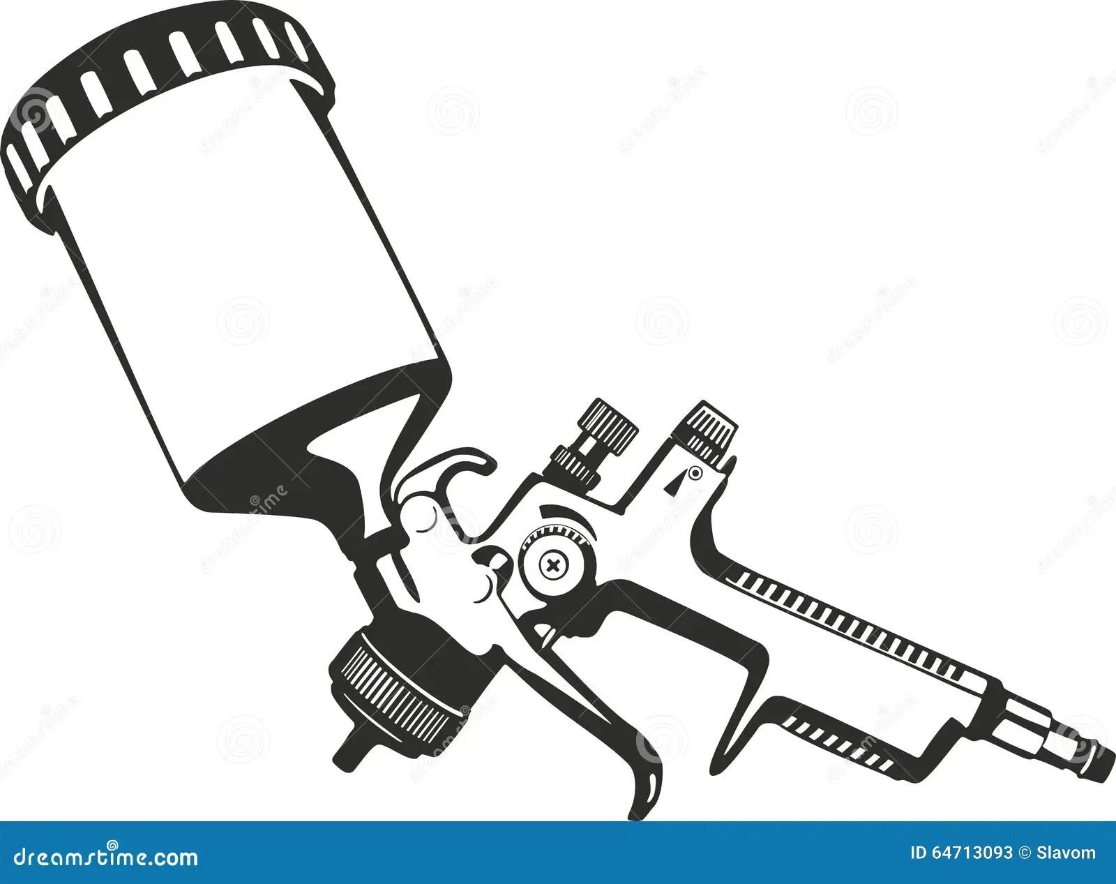 Verfspuitpistool Vector Illustratie Illustratie Bestaande