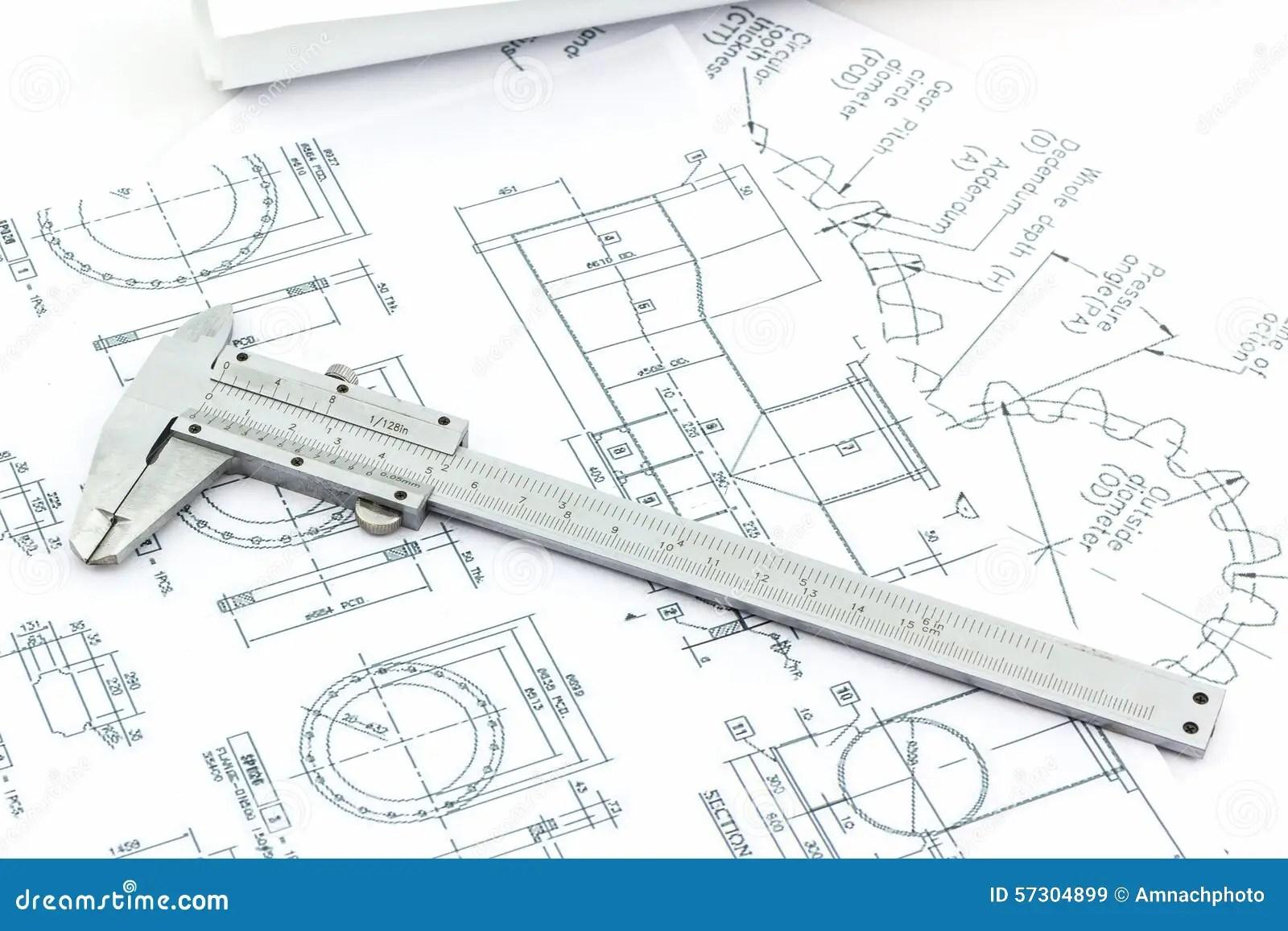 Vernier Scale On Blueprint Background Stock Photo