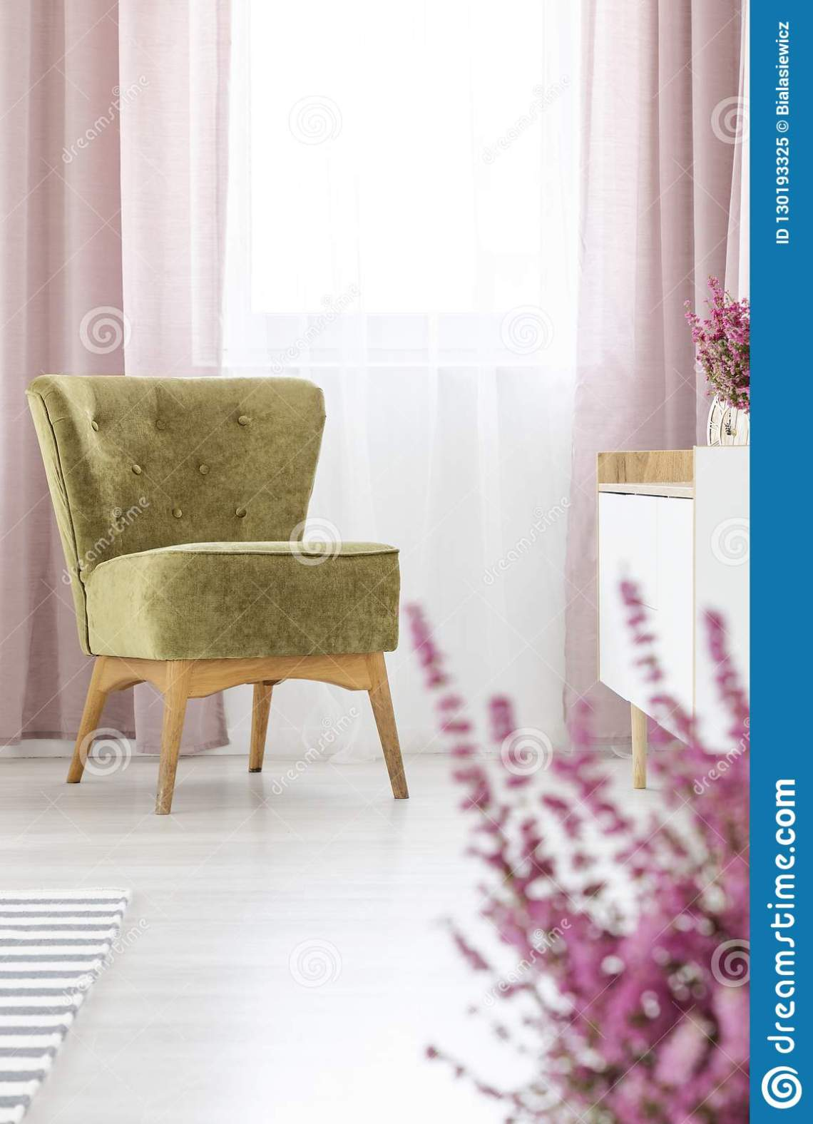 Stylish Olive Green Armchair In Elegant Living Room With Lilac Curtains Stock Image Image Of House Flower 130193325