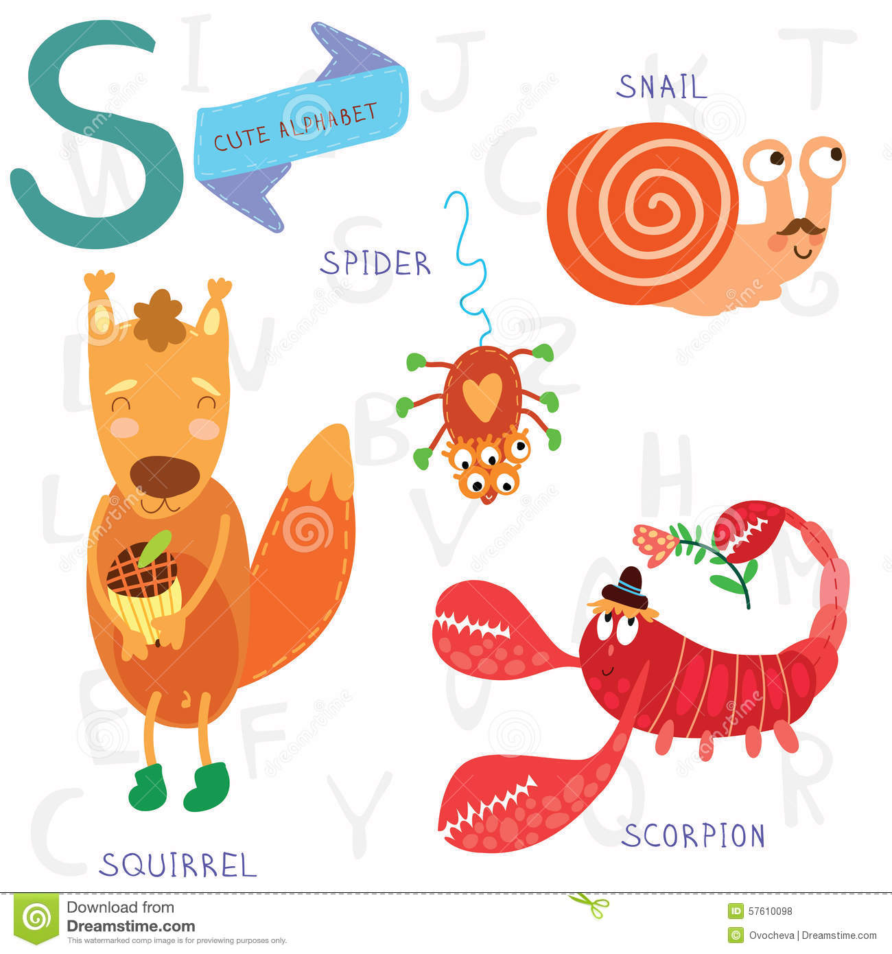 Letter X With Cartoon Xerus Vector Illustration