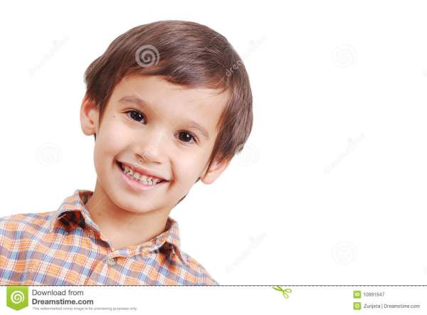 Very Nice Cute Boy With Smile On Face Isolated Stock