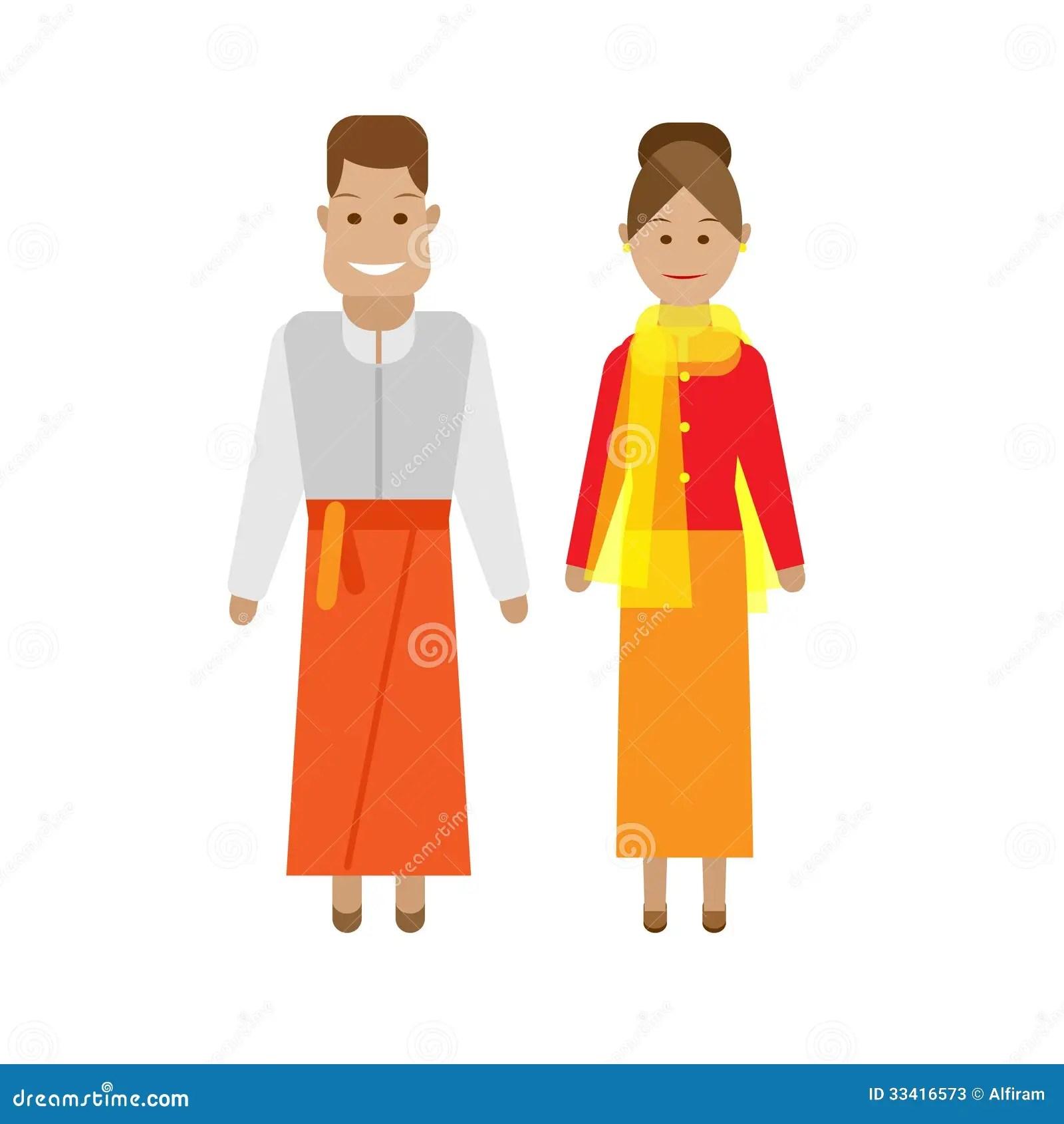 Vestito Nazionale Indonesiano Illustrazione Vettoriale