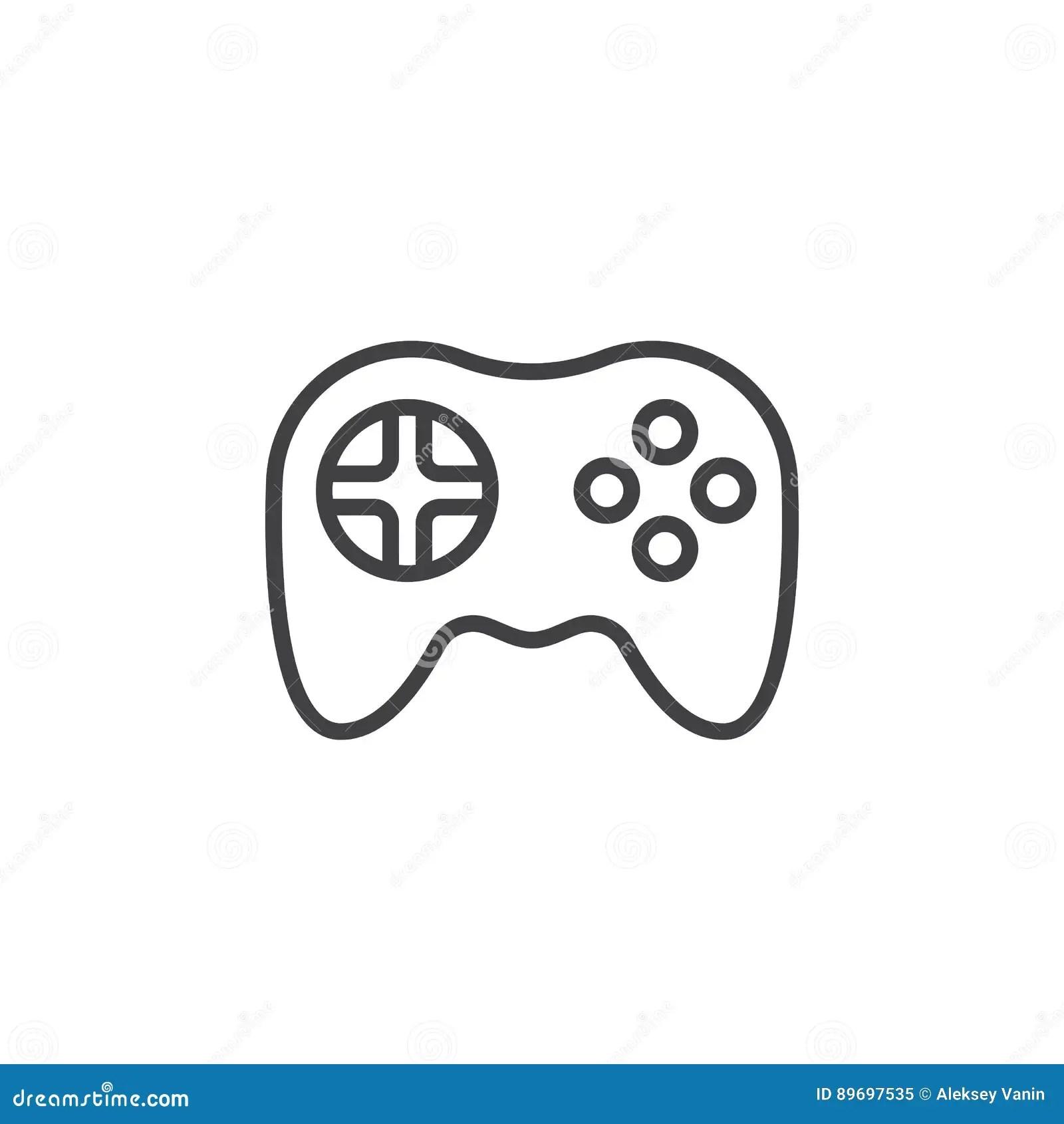 Video Game Symbol Gamepad Line Icon Stock Vector