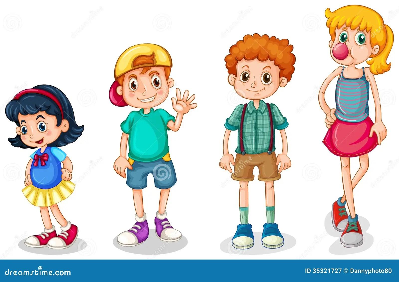 Vier Kinder Vektor Abbildung Illustration Von Zeichnung