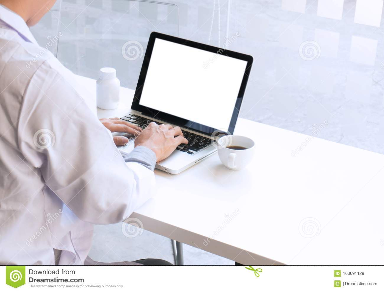 View Of Details Of Doctor Hands Typing On Keyboard With