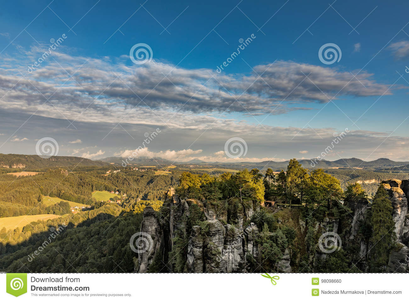 View From Observation Deck Of Bastei In Saxon Switzerland Germany To Kurort Rathen And The