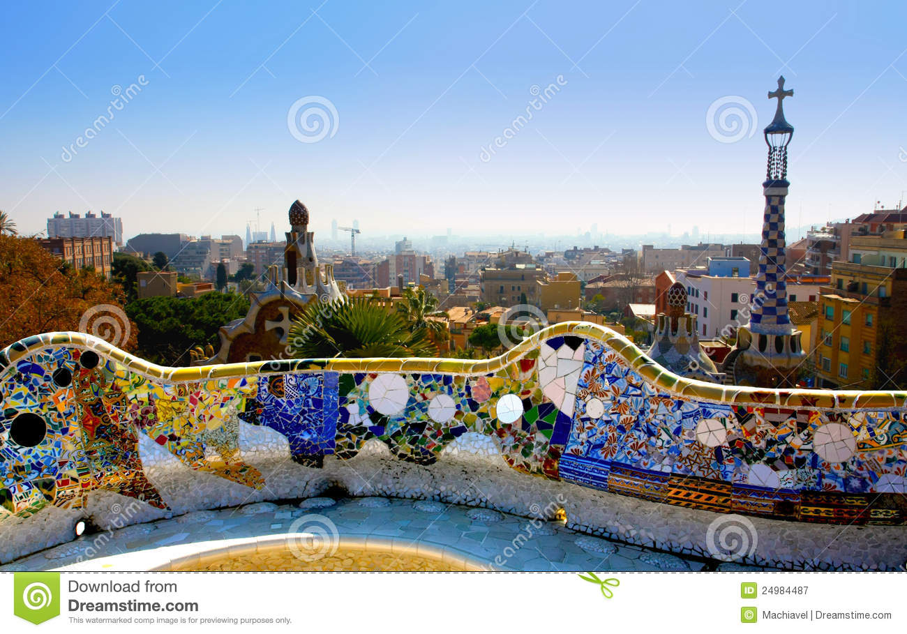 A View From The Park Guell Barcelone Spain Stock Image