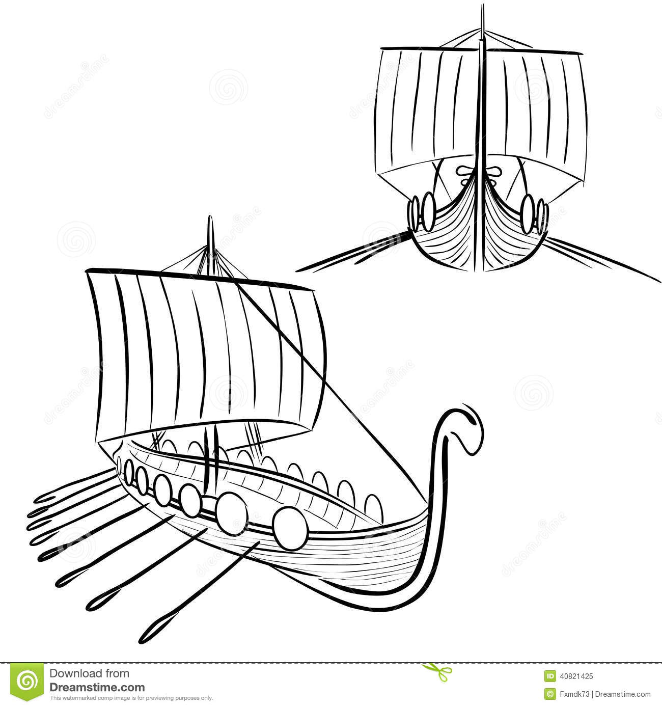 Viking Boat 3 Stock Vector Illustration Of Abstact