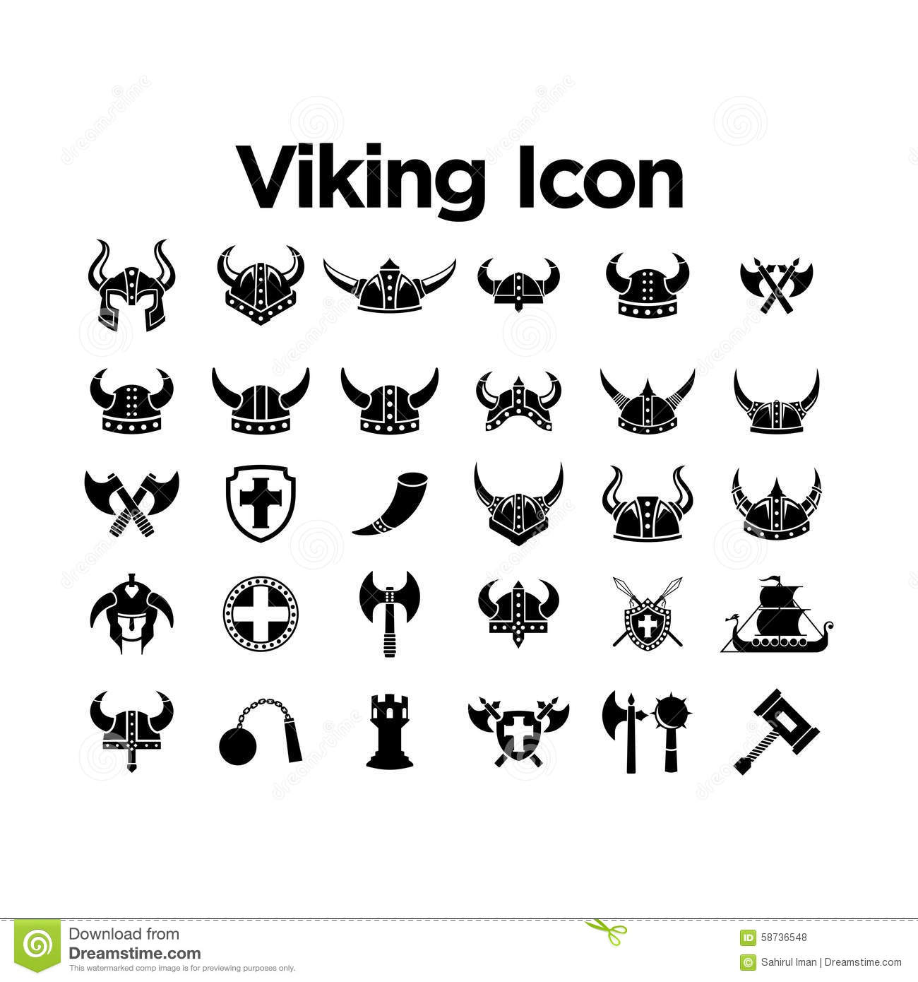 Viking Icon Set Stock Vector