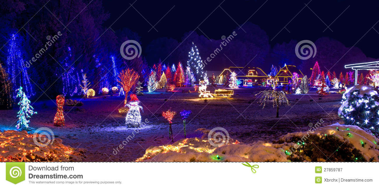 Village In Christmas Lights Panoramic View Stock Image