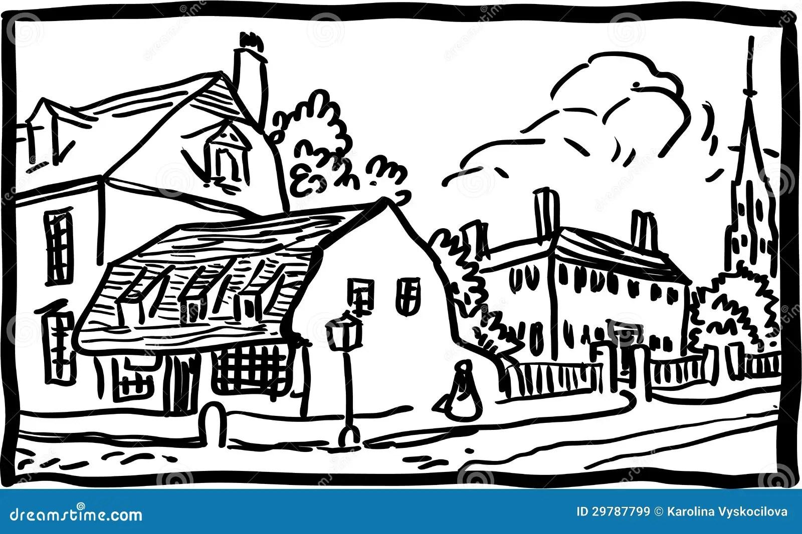 Village Landscape Stock Vector Illustration Of