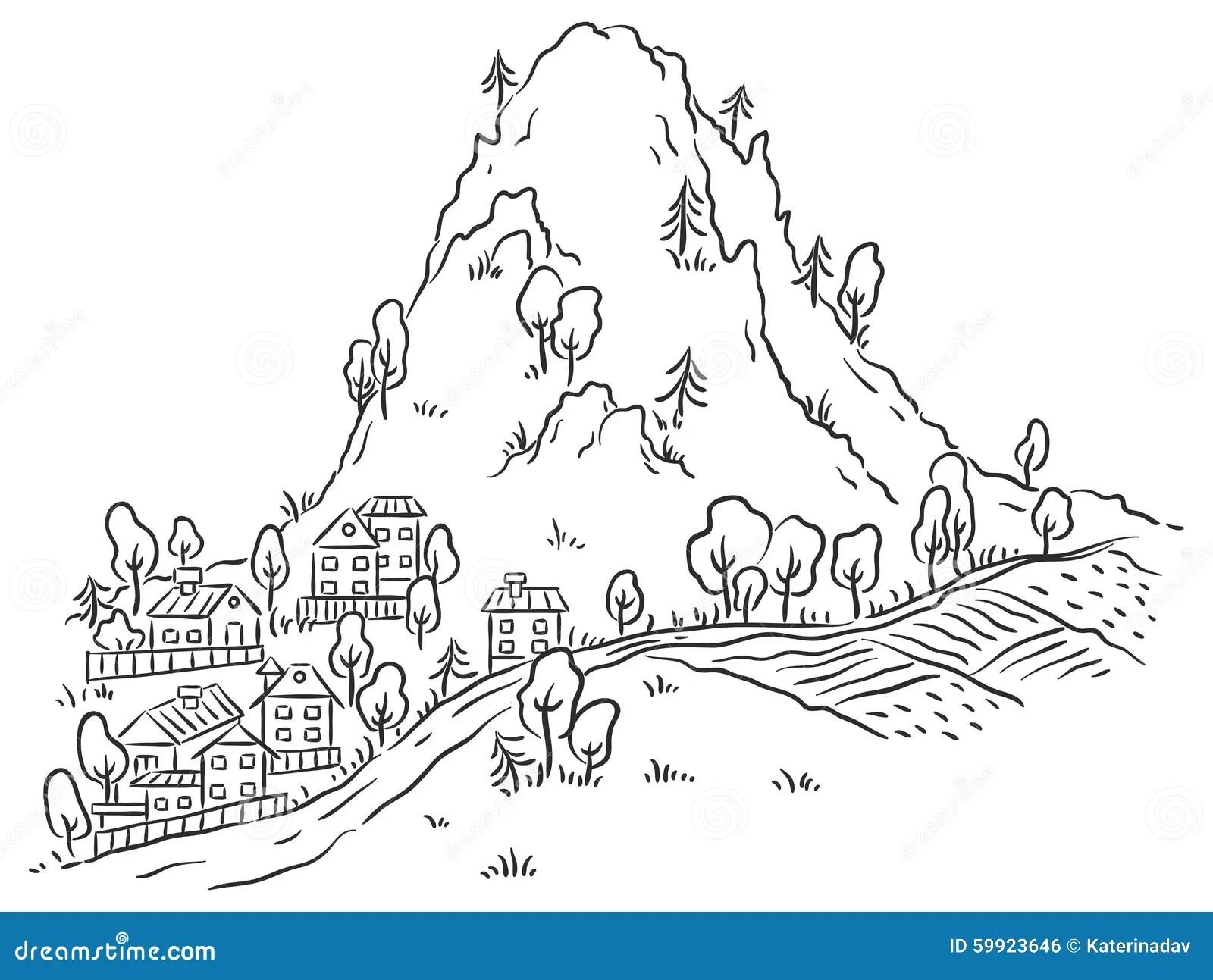 Ville De Bande Dessinee Au Pied De La Montagne