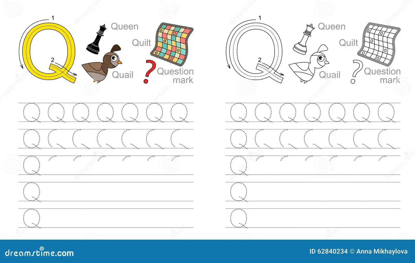 Vindend Aantekenvel Voor Brief Q Vector Illustratie