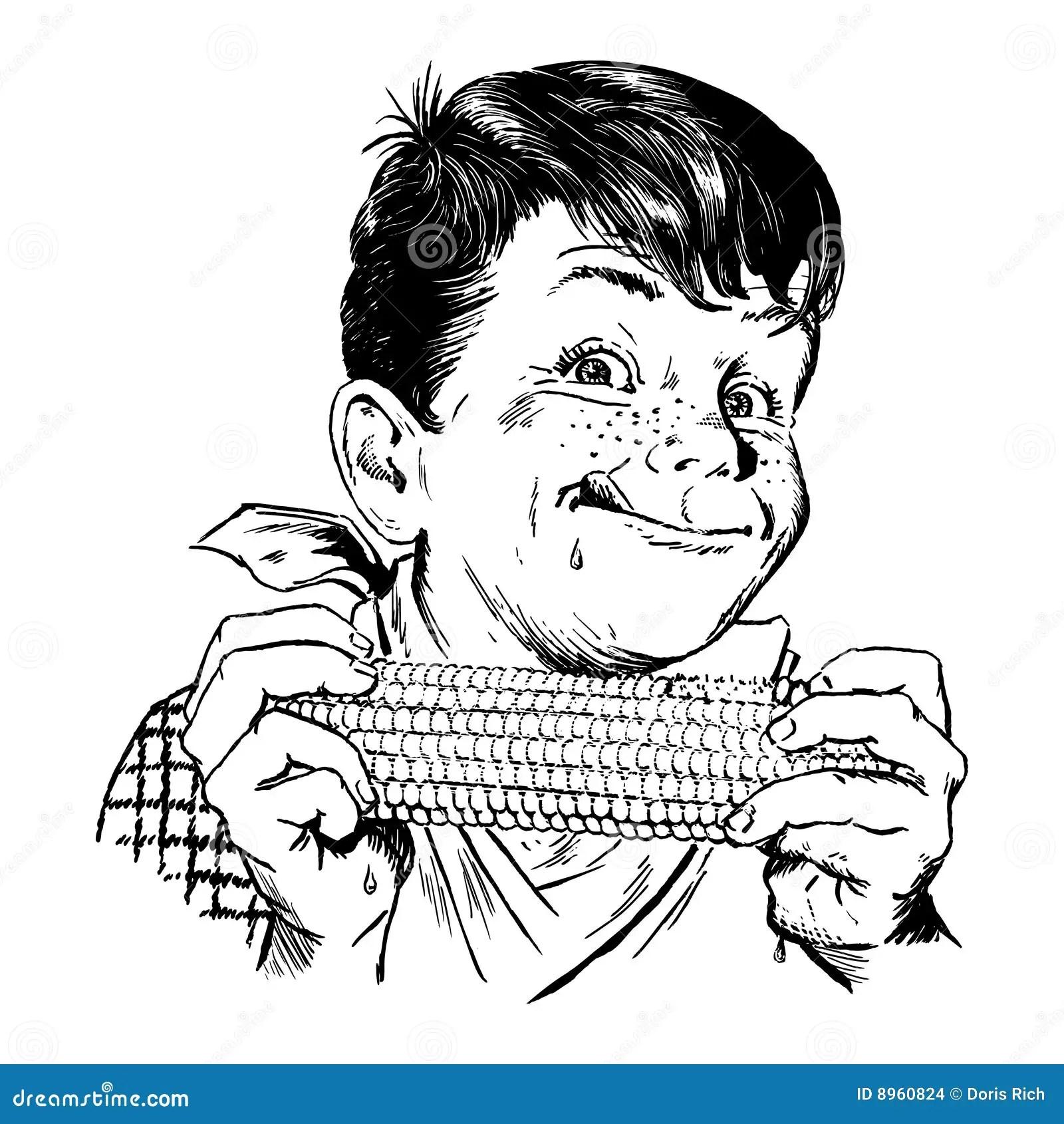 Vintage S Boy Eating Corn Stock Images