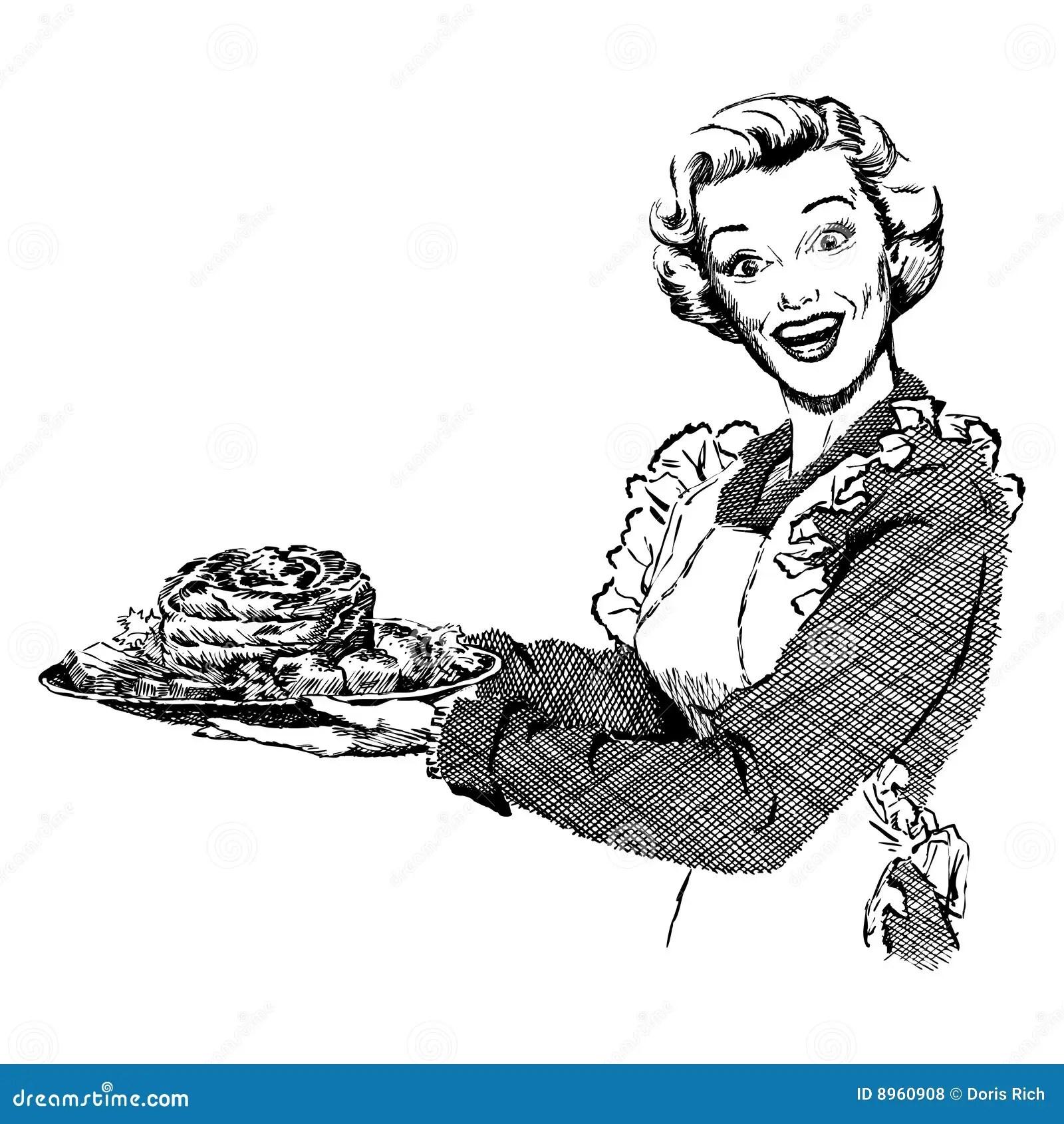 Vintage S Woman Serving Dinner Stock Vector