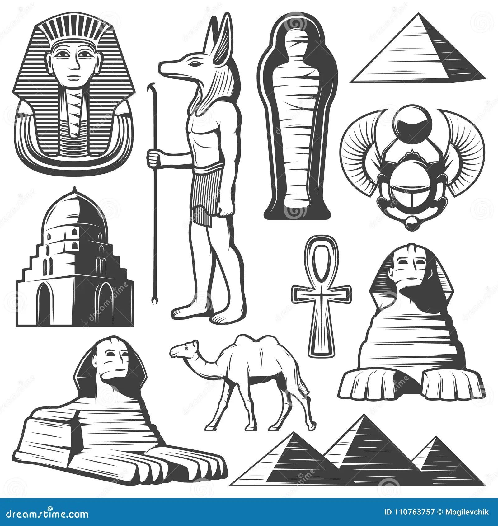 Vintage Ancient Egypt Elements Set Stock Vector