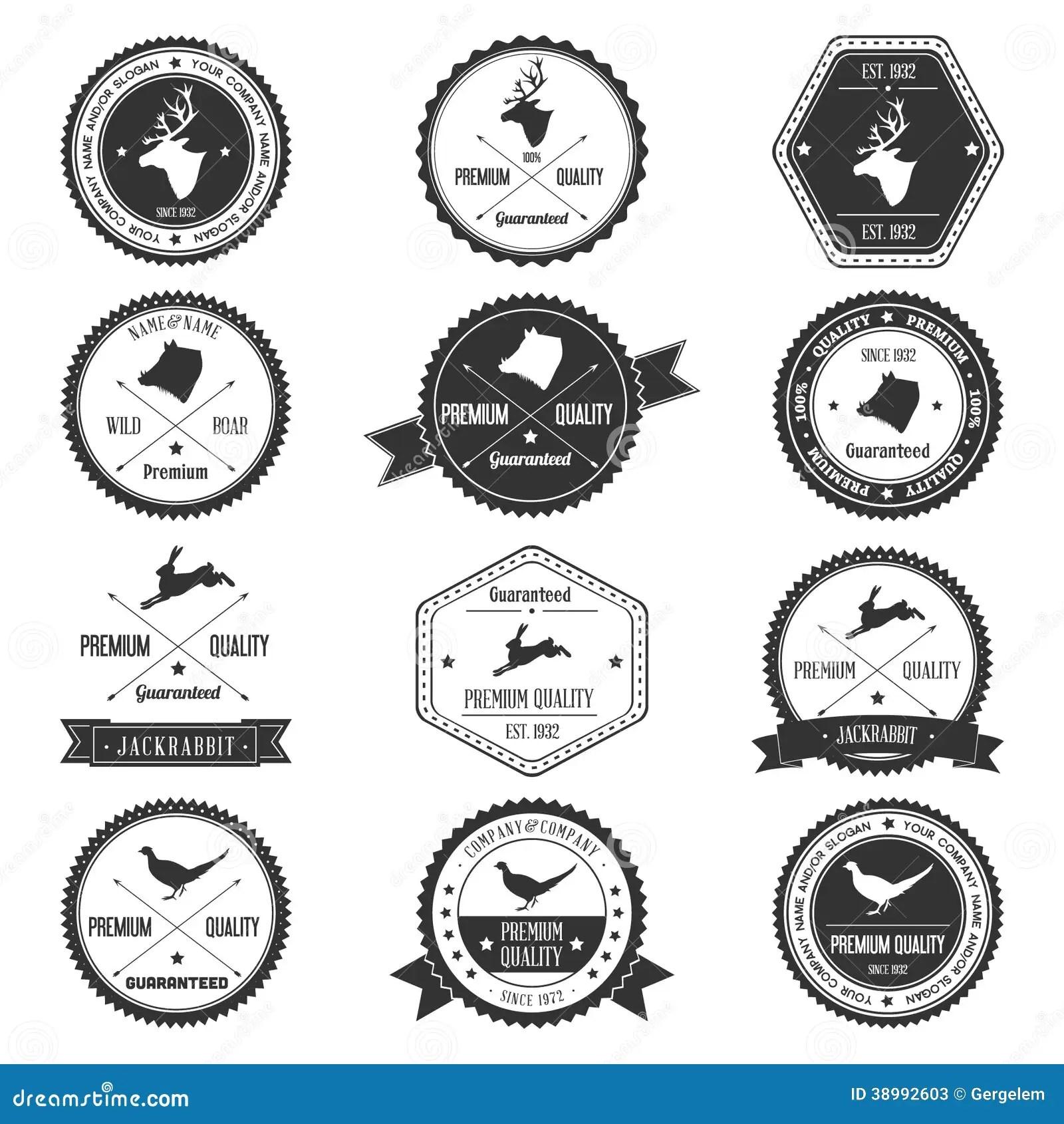 Vintage Animal Wild Collection Badge Set Stock Vector