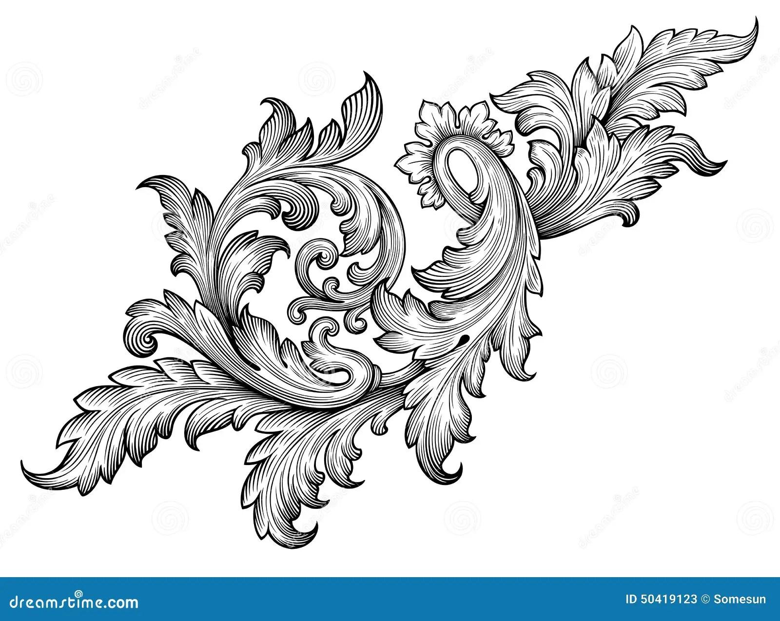 Vintage Baroque Frame Scroll Ornament Vector Vector
