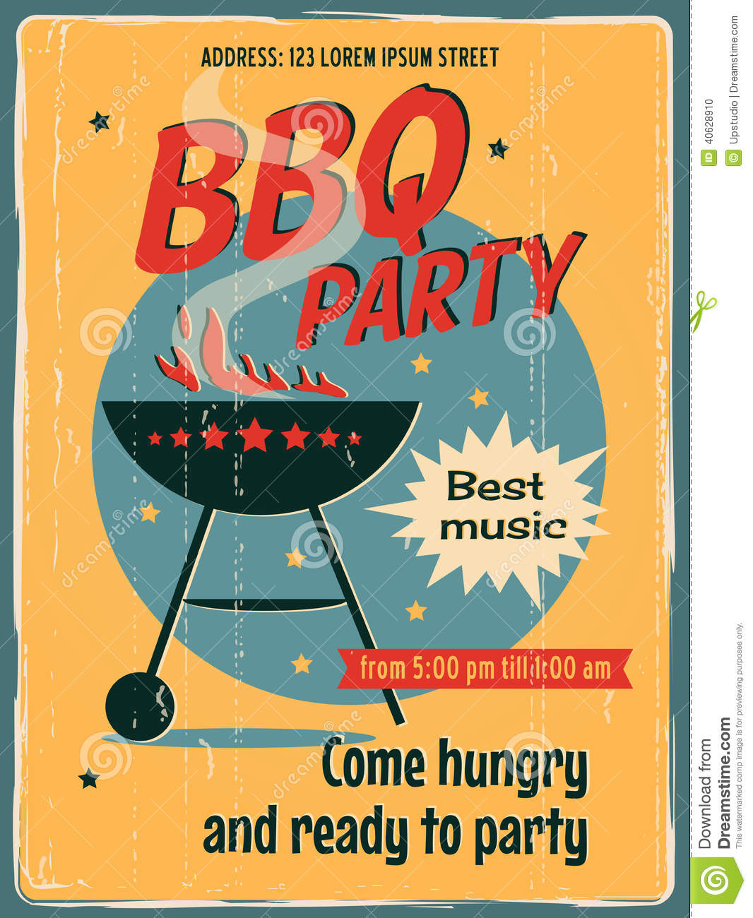 Vintage BBQ Grill Party Stock Vector Image 40628910