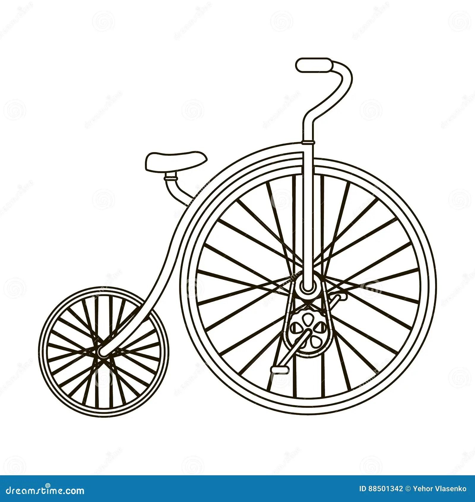 Symbol Of Old Vintage Bicycle Vector Illustration