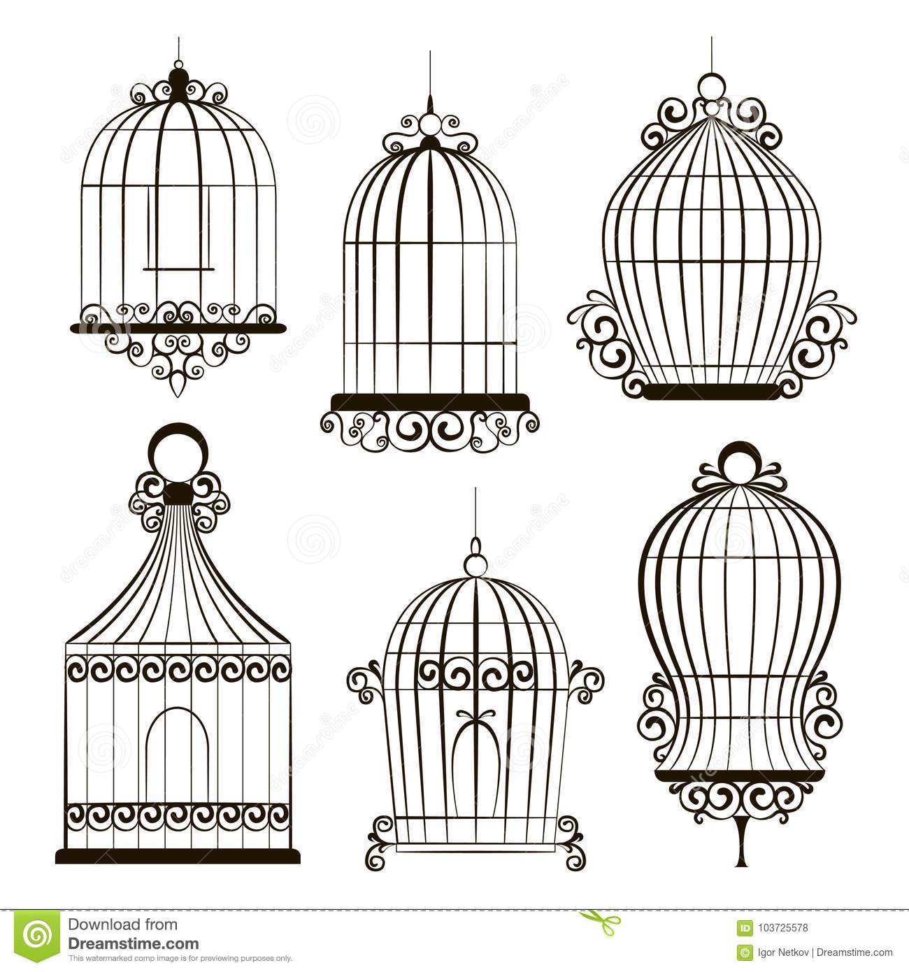 Vintage Bird Cages Stock Vector Illustration Of Antique