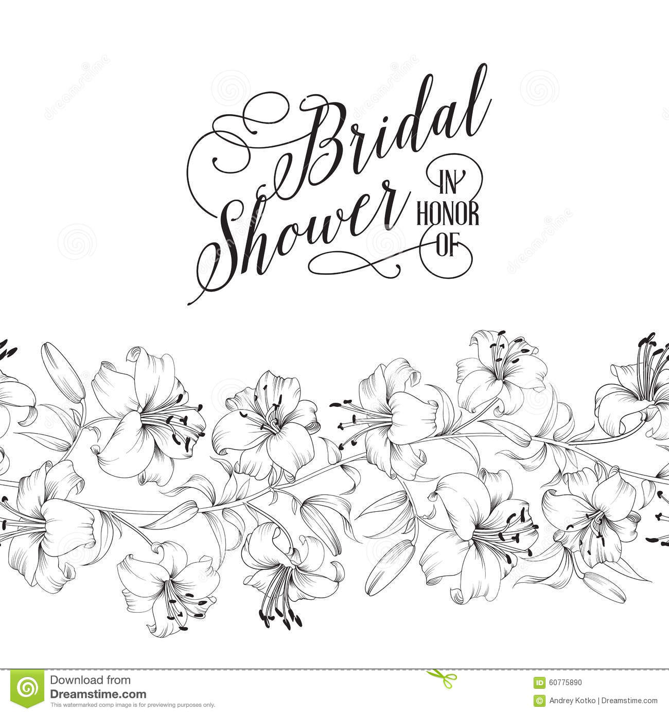 Vintage Bridal Shower Card Stock Vector