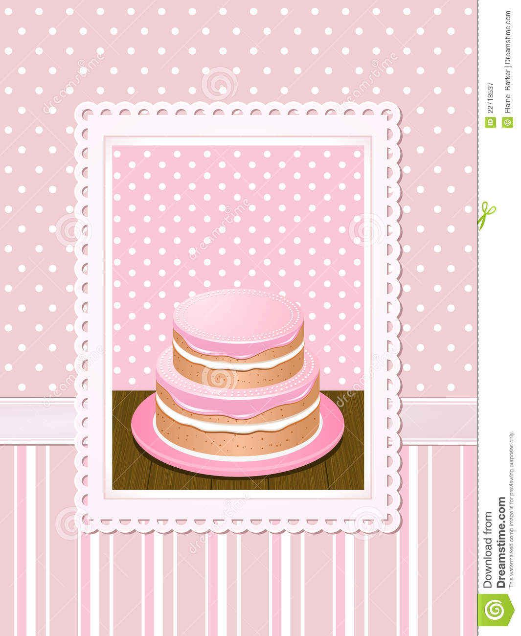 Vintage Cake Background Pink Stock Vector Illustration