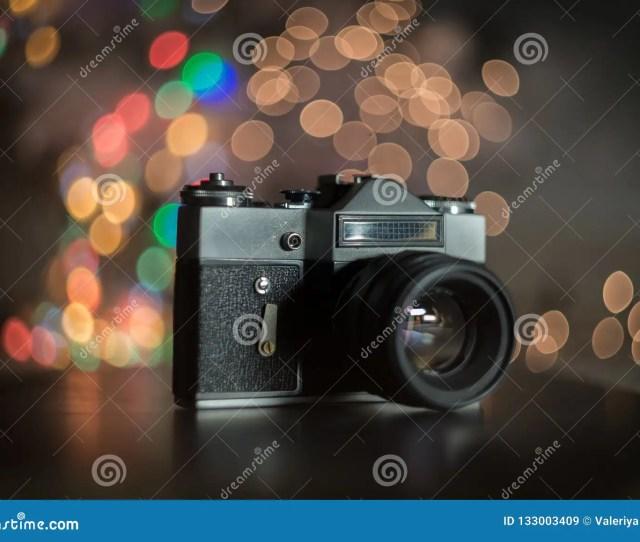 Vintage Camera In Christmas Lights Bokeh Stock Image Image Of