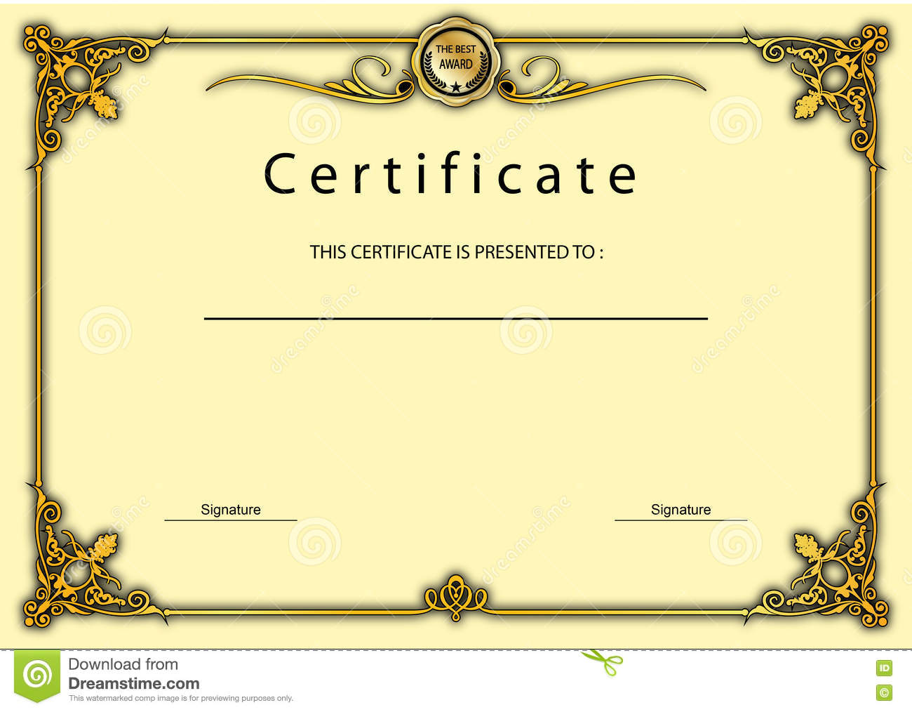 Vintage Certificate Award Diploma Template Stock