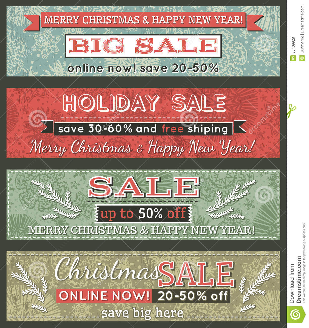 Vintage Christmas Banners With Sale Offer Vector Royalty Free Stock Photos Image 35409928