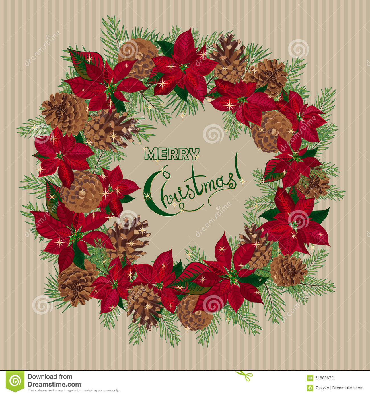 Vintage Christmas Card With Wreath Of Pine Cones And