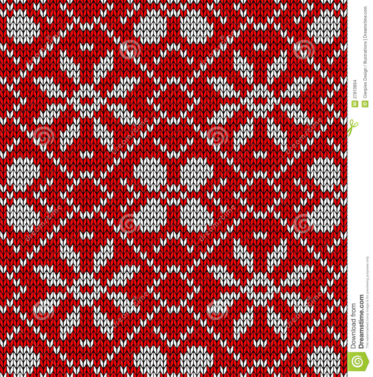 Vintage Christmas Knitted Pattern Stock Images Image
