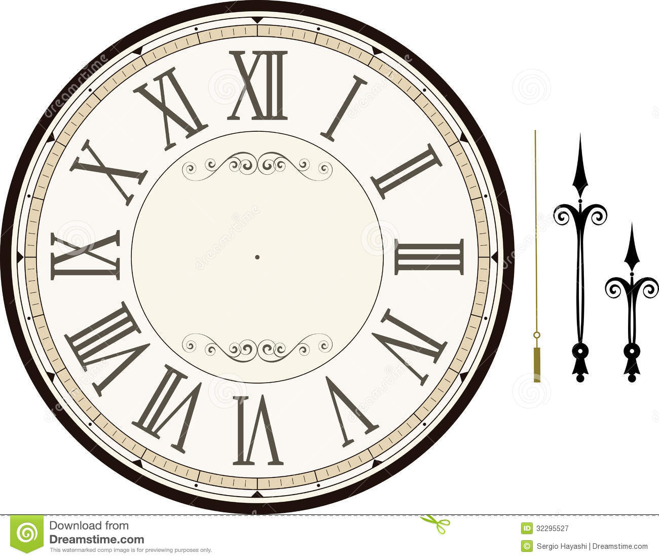 Vintage Clock Face Template Stock Vector