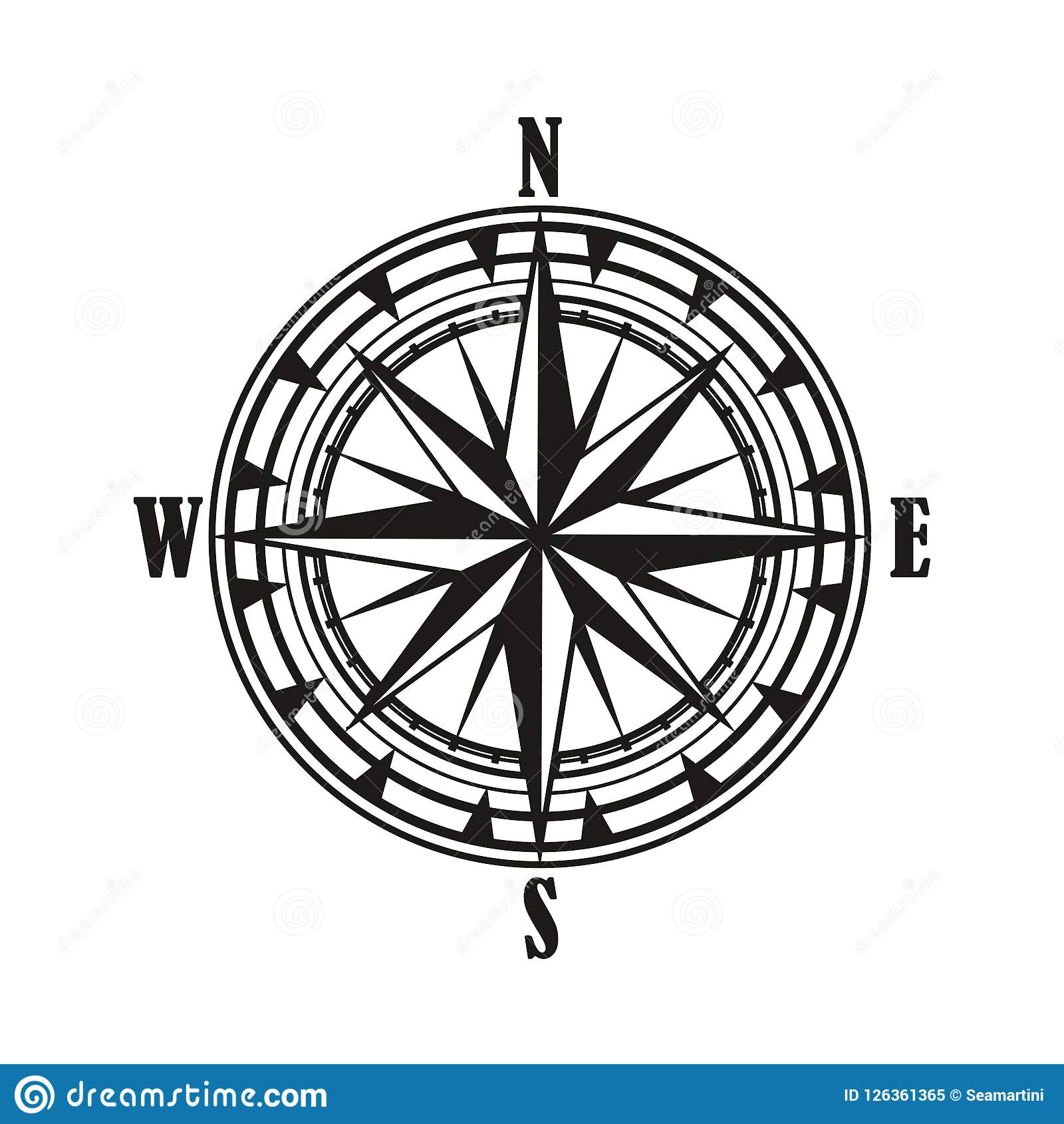 Vintage Compass Wind Rose Icon Stock Vector