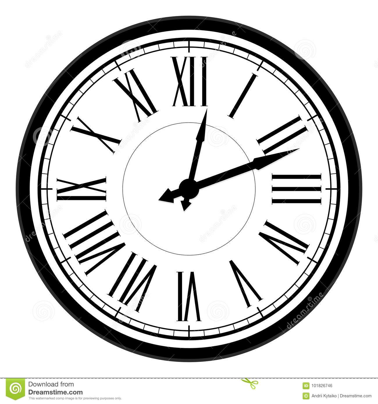 Vintage Dial Clock With Roman Numerals Stock Vector