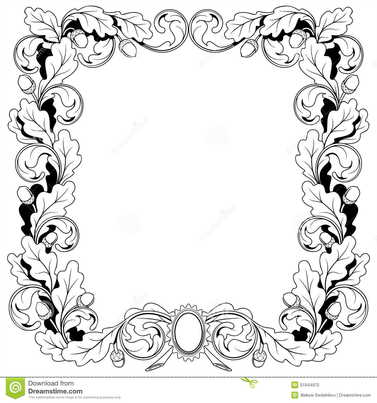 Vintage Frame Ornament From Oak Branches With Stock Vector