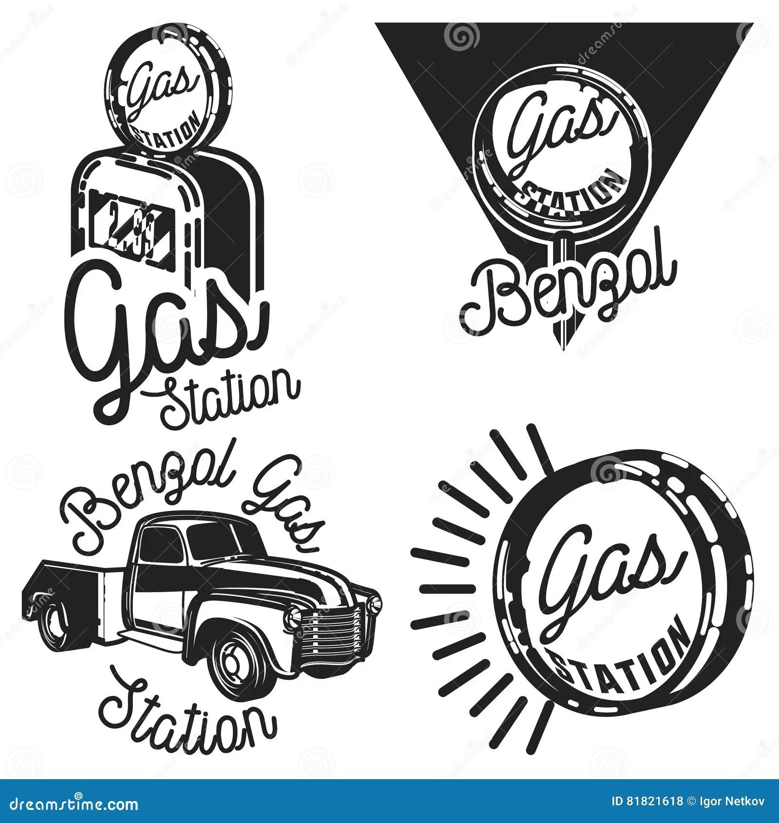Vintage Gas Station Emblems Stock Vector