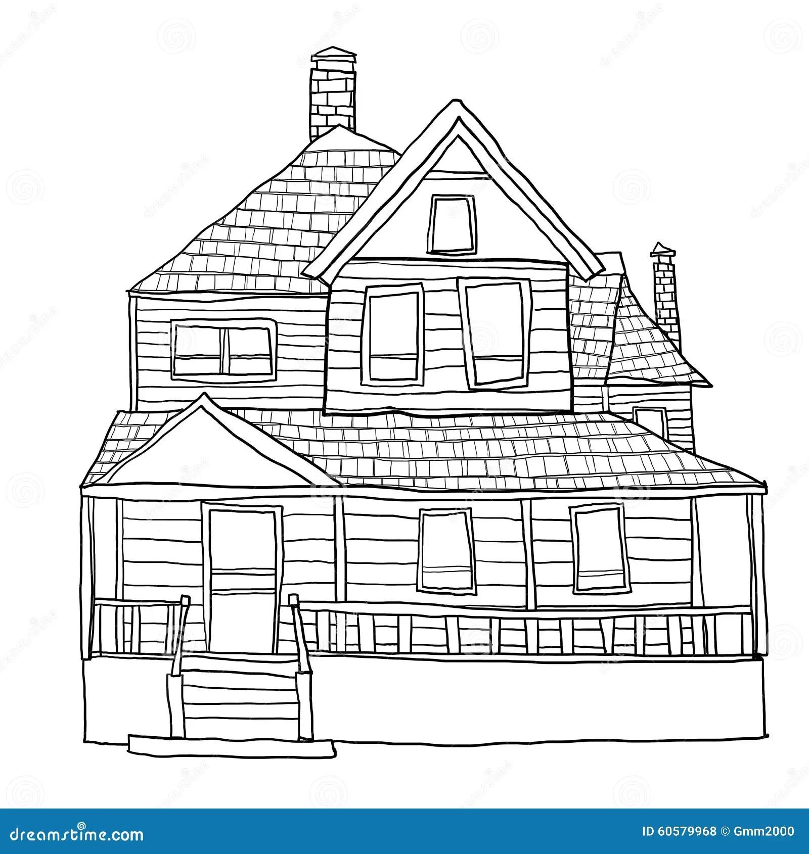 Vintage House Line Art Art Illustration Stock Illustration