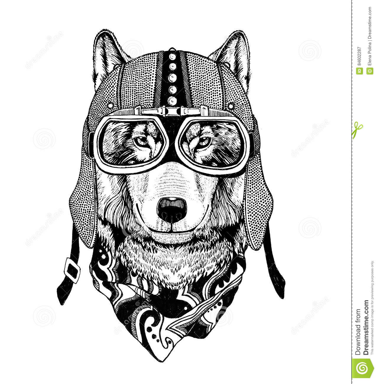Vintage Image Of Wolf For T Shirt Design For Motorcycle