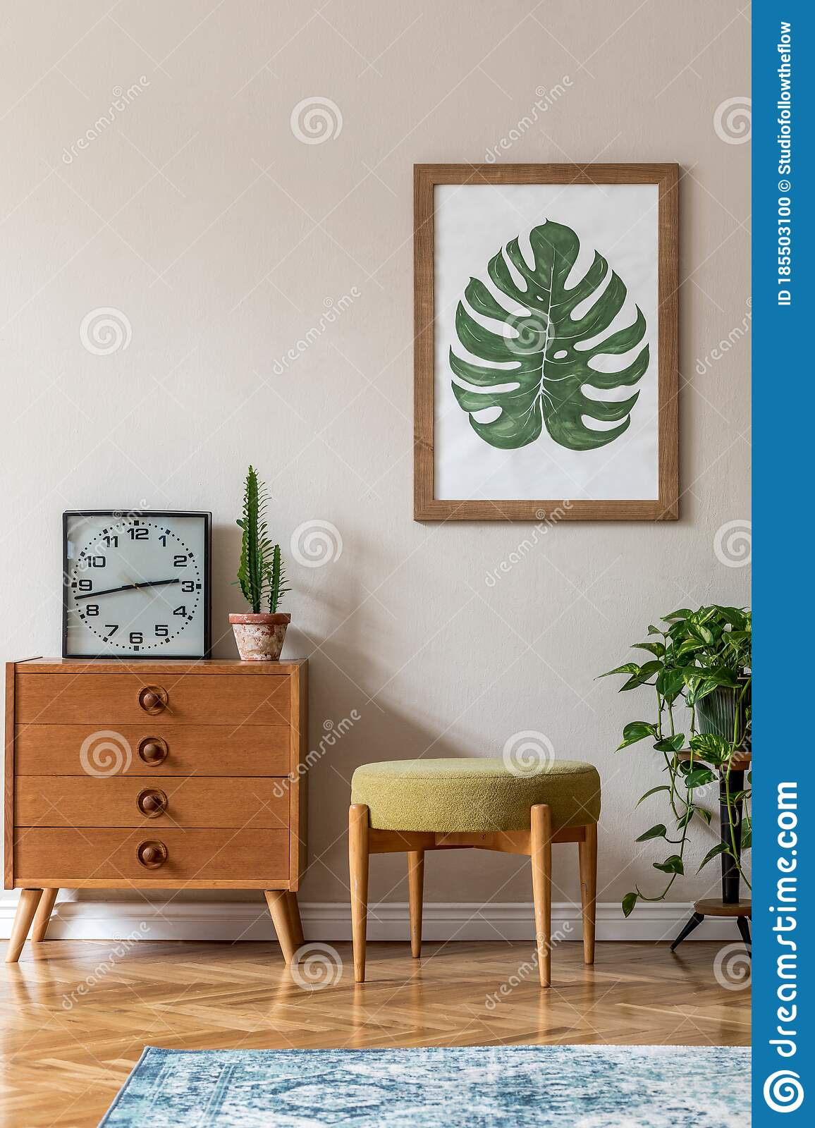 vintage interior design of living room with design retro pouf and commode stock photo image of empty apartment 185503100