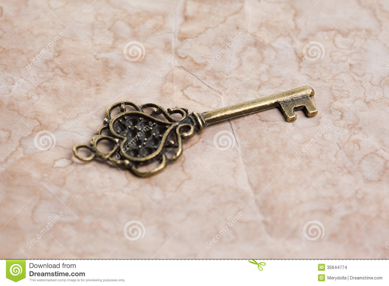 Victorian Skeleton Key And Lock