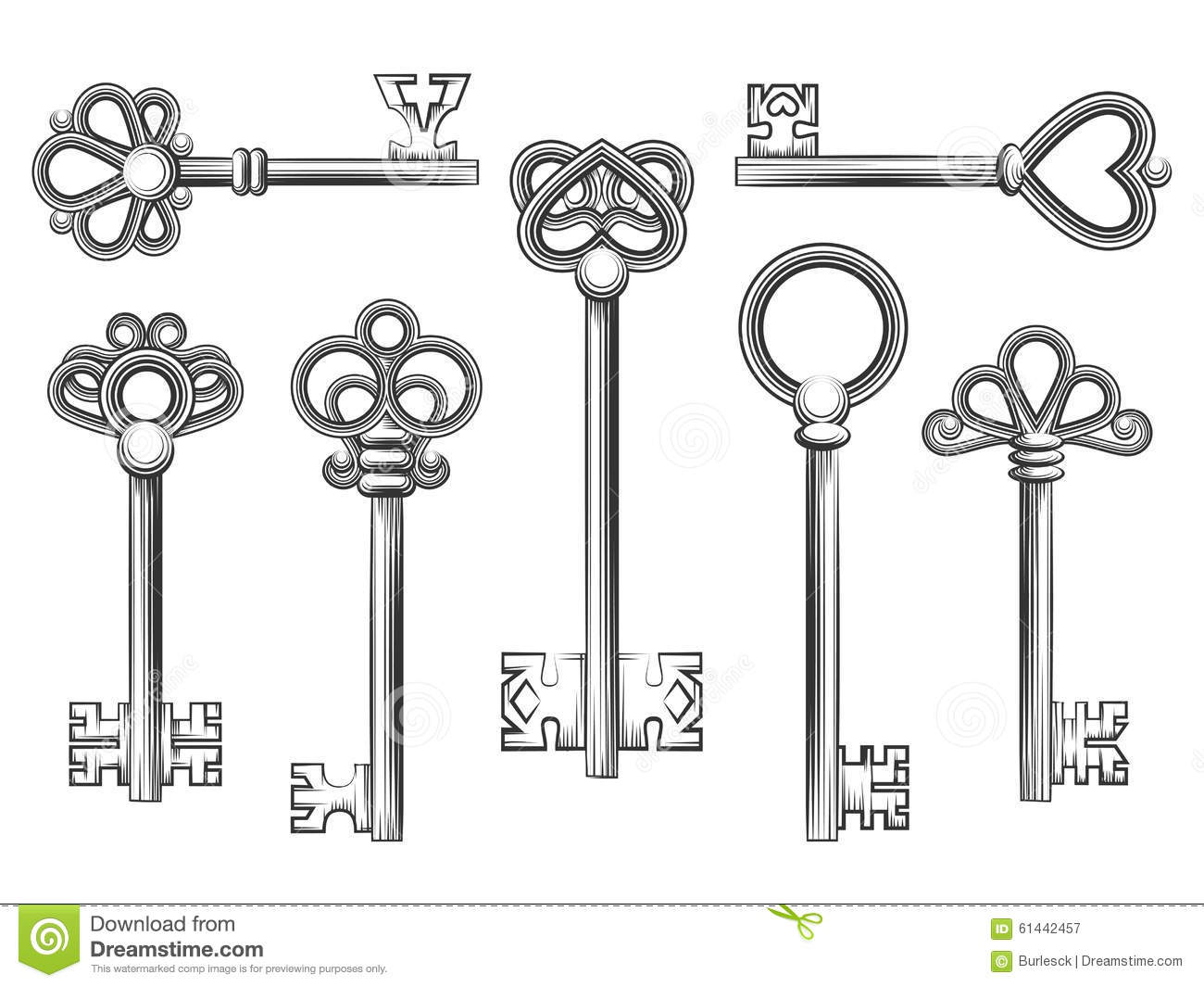 Antique Skeleton Key Drawing
