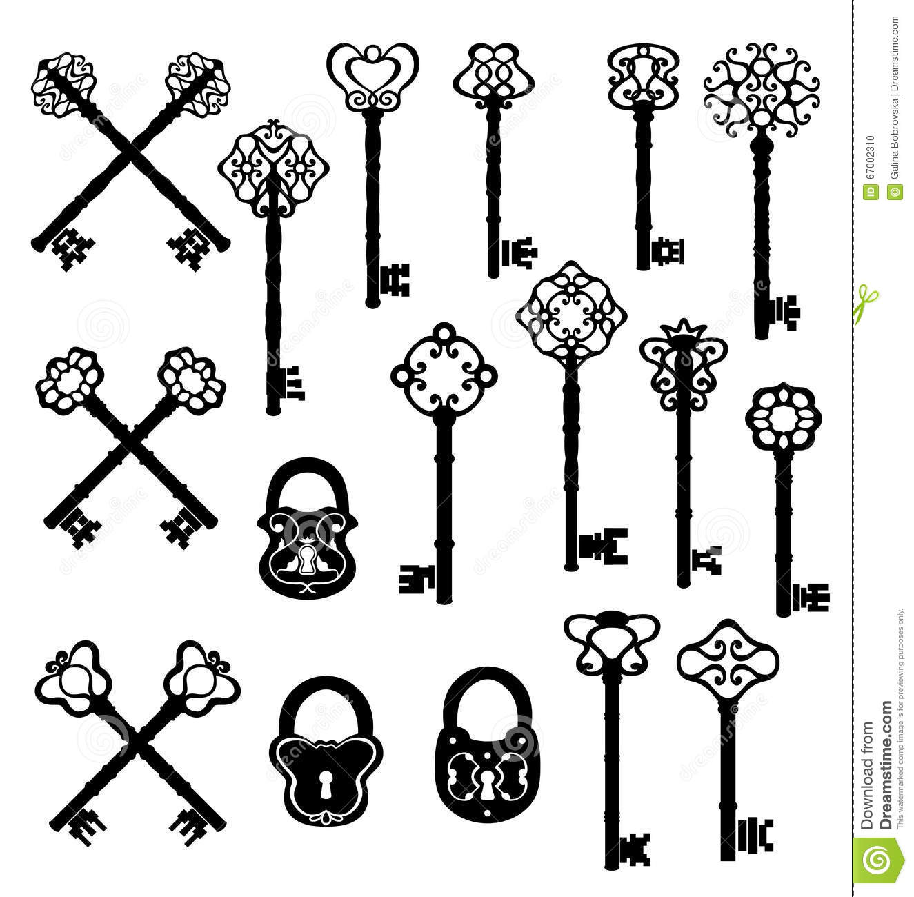 Vintage Keys And Lock Set Vector Design Stock Vector