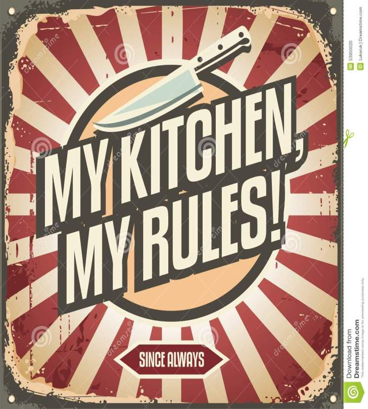 Vintage Kitchen Sign Promotional Message Rules