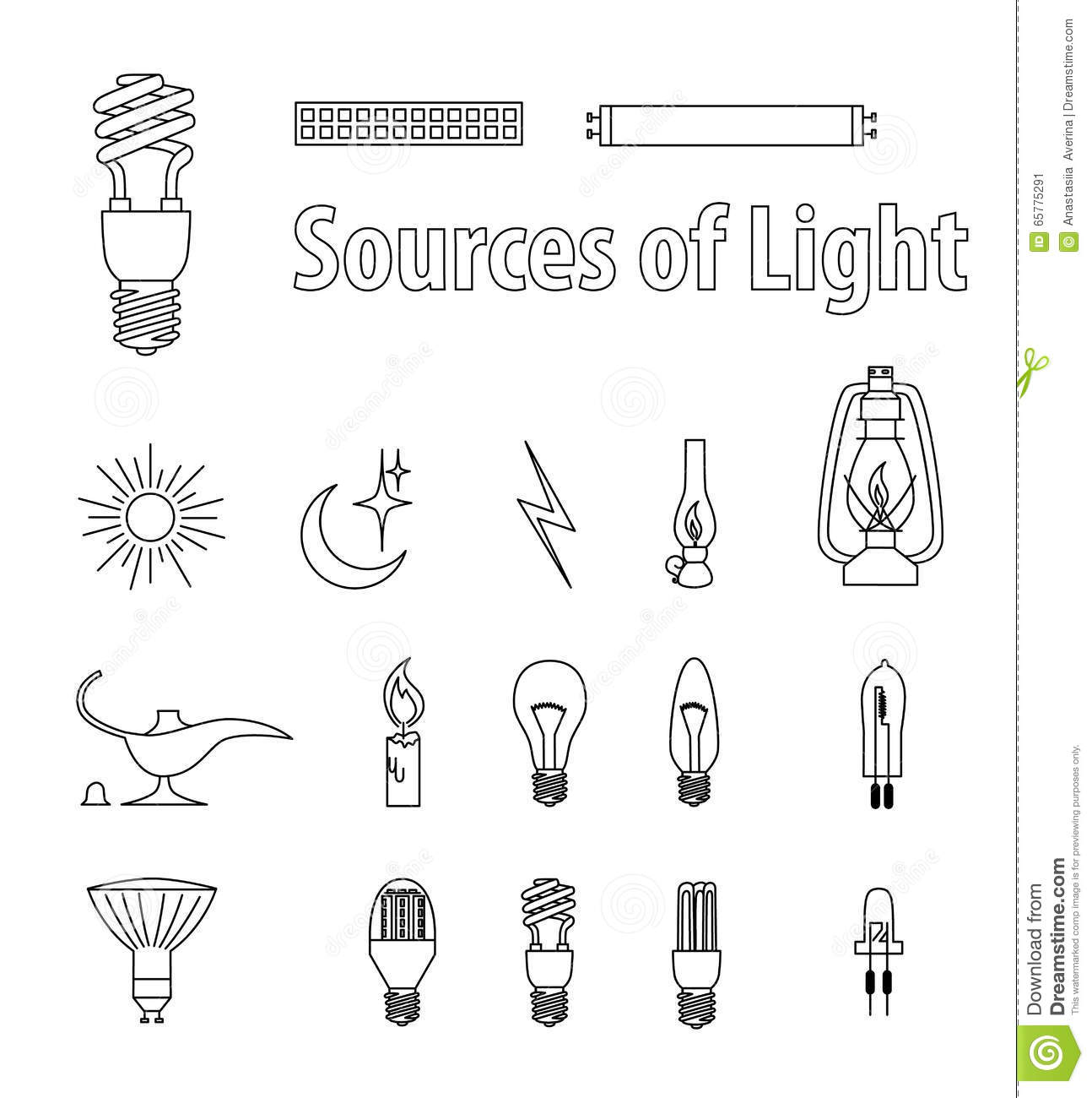 Vintage Light Bulbs Vector Illustration Source Of Light