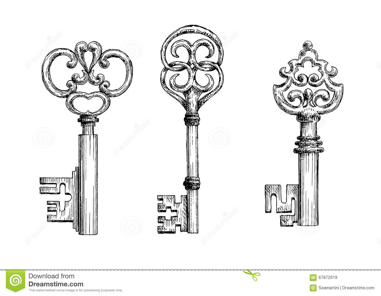 Vintage Me Val Keys Sketches Set Stock Vector